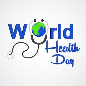 Design de texto conceito dia da saúde mundial com estetoscópio médico
