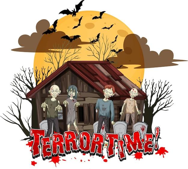 Design de texto da hora do terror com casa assombrada