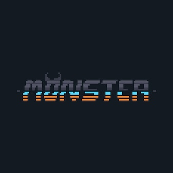 Design de texto de monstro cyberpunk de pixel art