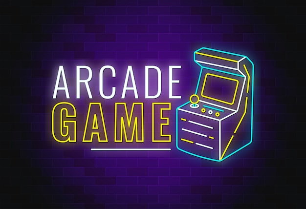 Design de texto de néon de jogo de arcade com slot machine.