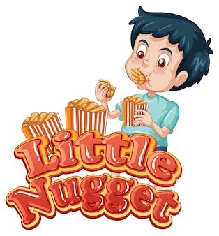Design de texto do logotipo do little nugget com um menino comendo nuggets de frango