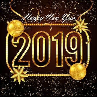 Design de texto dourado para o novo ano de 2019