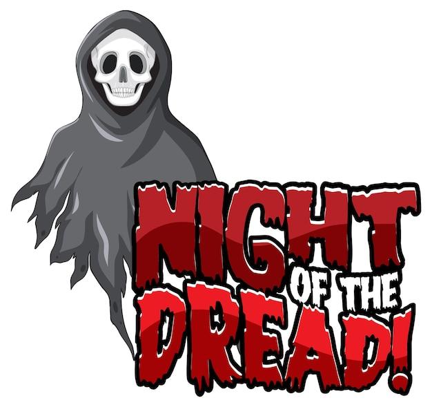 Design de texto night of the dread para o festival de halloween