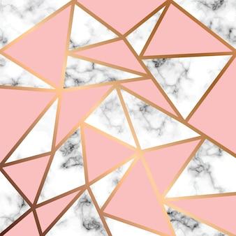 Design de textura de mármore vector com linhas geométricas douradas, superfície de mármore preto e branco