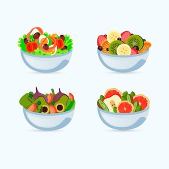 Design de tigelas de frutas e saladas