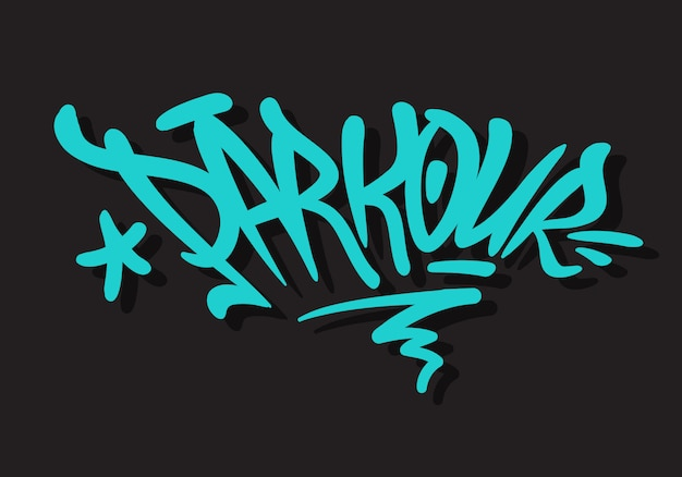 Design de tipo de letras de pincel parkour estilo de marca de graffiti