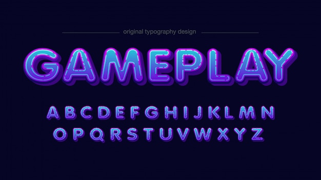 Design de tipografia arredondada azul néon