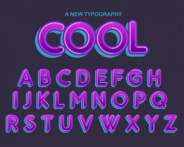 Design de tipografia arredondada roxo colorido