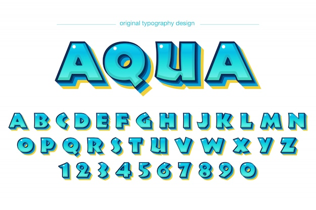 Design de tipografia colorida azul dos desenhos animados