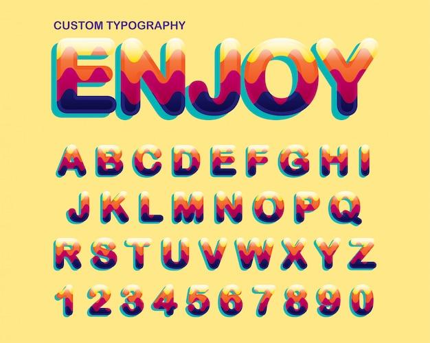 Design de tipografia colorido abstrato zig zag