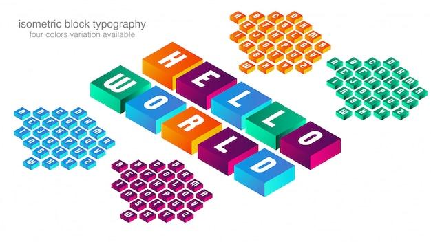Design de tipografia de bloco isométrico colorido