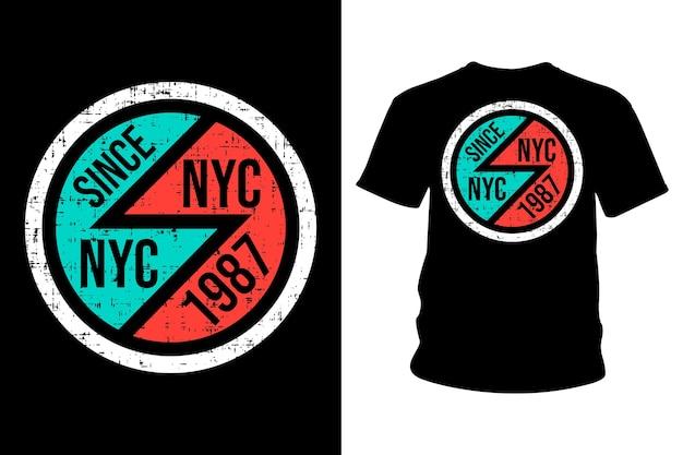 Design de tipografia de camisetas com texto em nova york