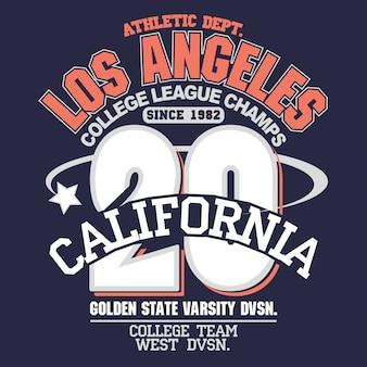 Design de tipografia de desgaste de esporte da califórnia