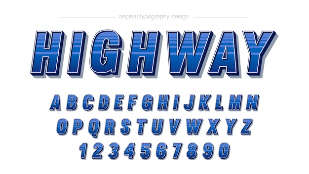 Design de tipografia de listras azuis em negrito