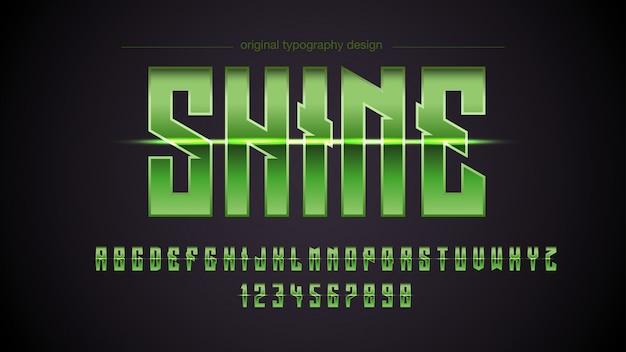 Design de tipografia de luzes metálicas verdes