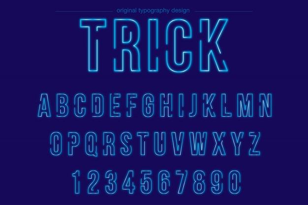 Design de tipografia de néon azul brilhante