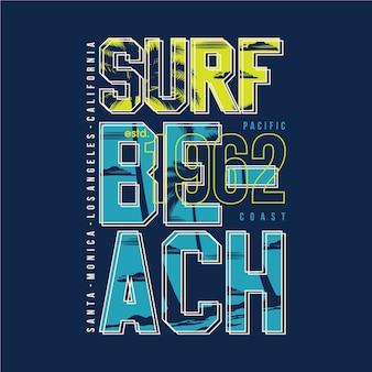 Design de tipografia de surf beach para gráfico de camisetas impressas