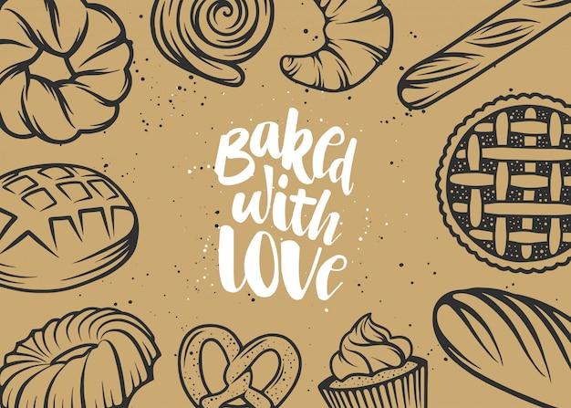 Design de tipografia desenhada mão, assado com amor.