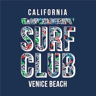Design de tipografia do surf club para gráfico de camisetas impressas
