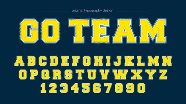 Design de tipografia do time do colégio de efeito bordado