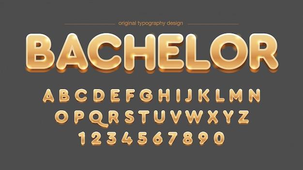 Design de tipografia dourada 3d em negrito