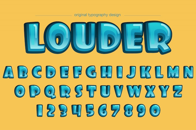 Design de tipografia em quadrinhos azul arredondado bold (realce) extra vibrante