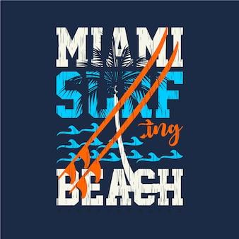 Design de tipografia gráfica de miami surf beach