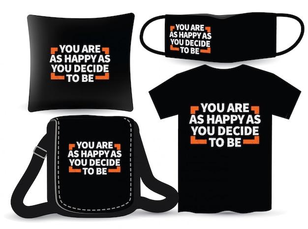 Design de tipografia motivacional para t-shirt e merchandising