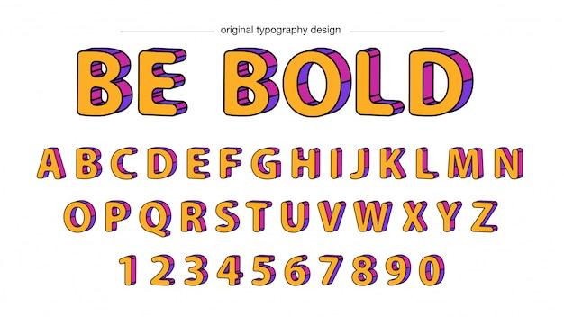 Design de tipografia negrito amarelo arredondado