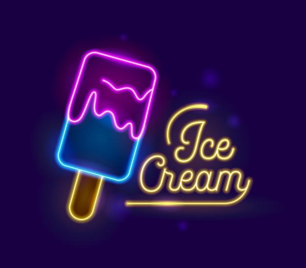 Design de tipografia retrô de efeito de luz neon ice cream