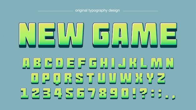 Design de tipografia verde brilhante moderno dos desenhos animados