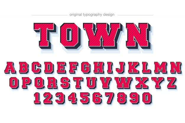 Design de tipografia vermelho bisel bold (realce)