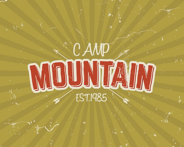 Design de tipografia vintage com setas e texto, acampamento de montanha, cores amarelas
