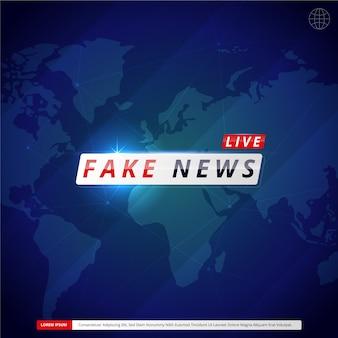 Design de transmissão ao vivo de notícias falsas