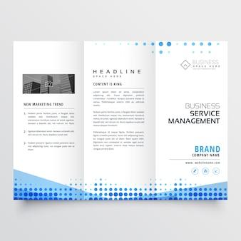 Design de três dobras brochura limpo com efeito abstrato azul