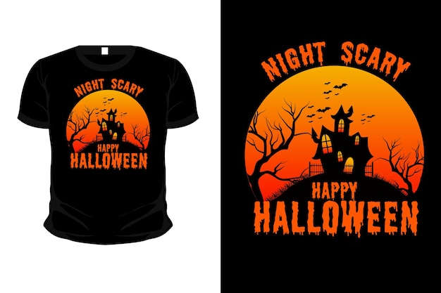 Design de tshirt de halloween assustador e feliz