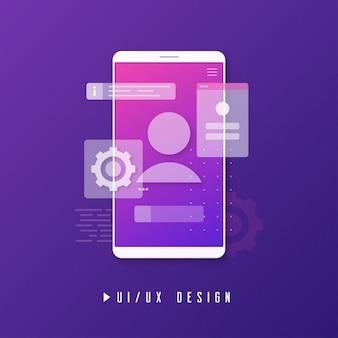 Design de ui ux móvel, conceito de desenvolvimento de aplicativos.