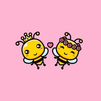 Design de um par de abelhas bonitos