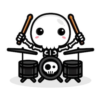 Design de um personagem de caveira tocando um tambor