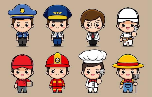Design de uma coleção de personagens de várias profissões