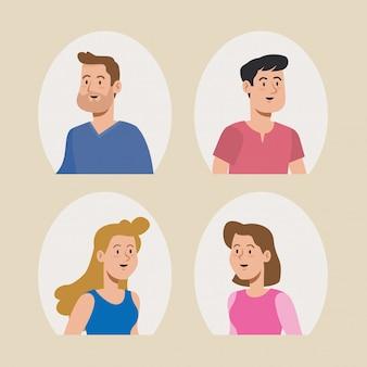 Design de usuário de mulheres e homens bonitos Vetor Premium