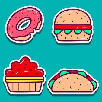 Design de vários modelos de adesivos de comida