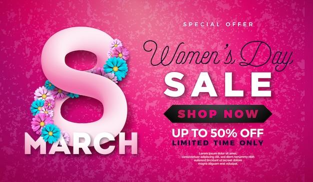 Design de venda de dia das mulheres com bela flor colorida
