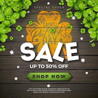 Design de venda de dia de são patrício, com trevo verde e carta de tipografia