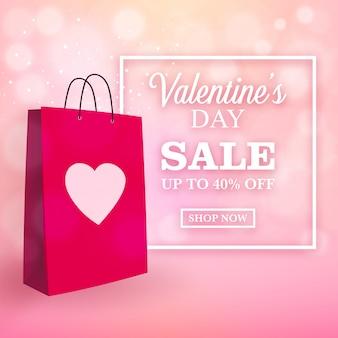 Design de venda de dia dos namorados com sacola de compras