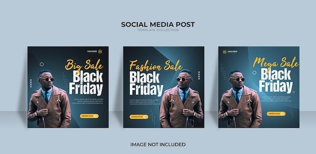 Design de venda de moda black friday para redes sociais