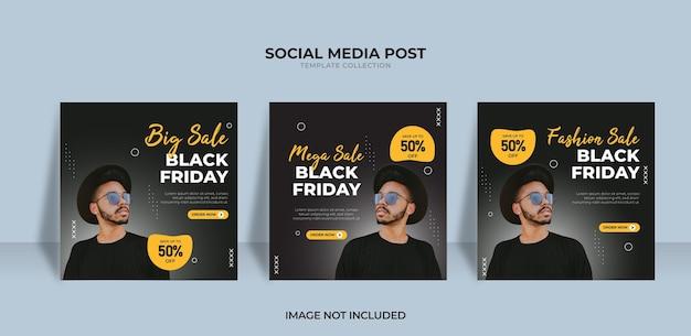Design de venda de moda na sexta-feira negra para postagem em mídia social