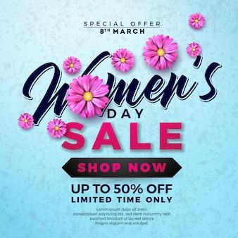 Design de venda do dia da mulher com flor em fundo azul