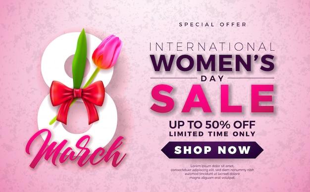 Design de venda do dia da mulher com flor em fundo rosa
