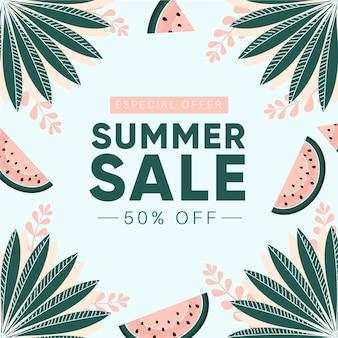 Design de venda verão desenhada